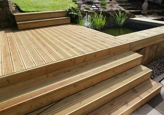 125mm x 38mm swedish redwood decking bg fencing for Tanalised decking boards